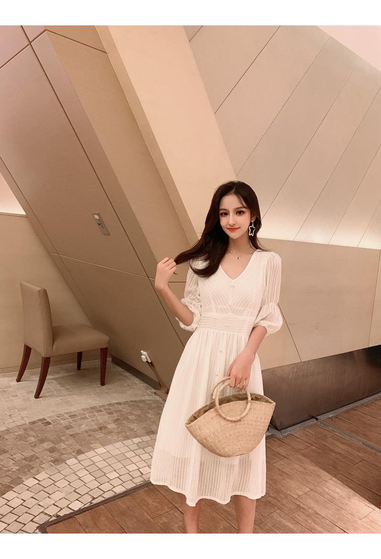 韓国 ファッション ワンピース 春 夏 秋 カジュアル PTXI162  シアー シフォン パフスリーブ フェミニン オルチャン シンプル 定番 セレカジの写真11枚目