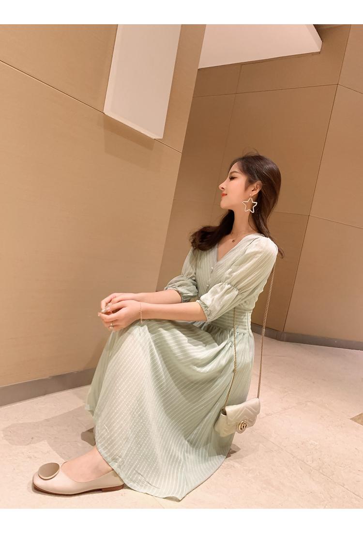 韓国 ファッション ワンピース 春 夏 秋 カジュアル PTXI162  シアー シフォン パフスリーブ フェミニン オルチャン シンプル 定番 セレカジの写真18枚目