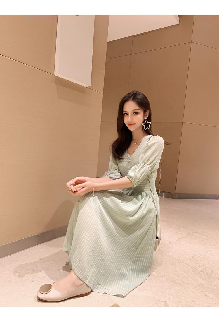韓国 ファッション ワンピース 春 夏 秋 カジュアル PTXI162  シアー シフォン パフスリーブ フェミニン オルチャン シンプル 定番 セレカジの写真19枚目