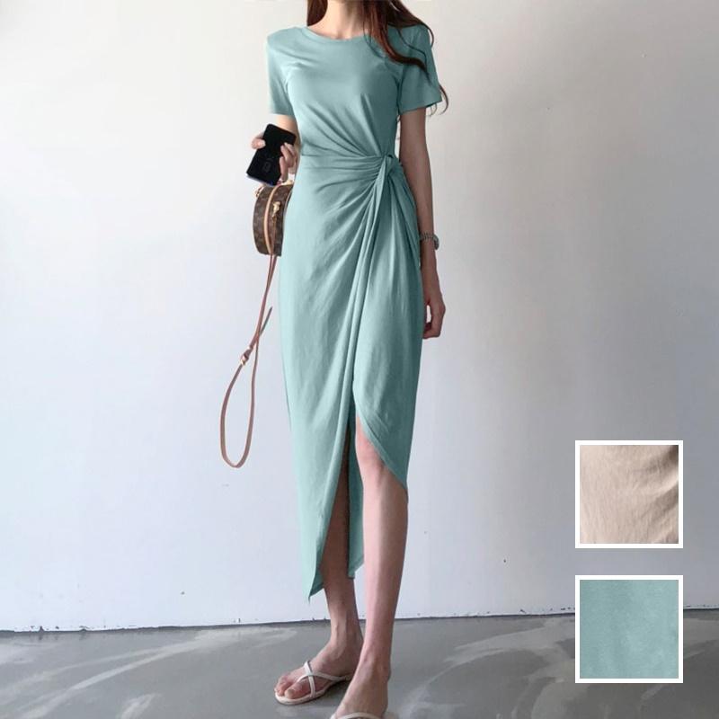 韓国 ファッション ワンピース 夏 春 カジュアル PTXI188  アシンメトリー ツイスト ドレープ スリット オルチャン シンプル 定番 セレカジの写真1枚目