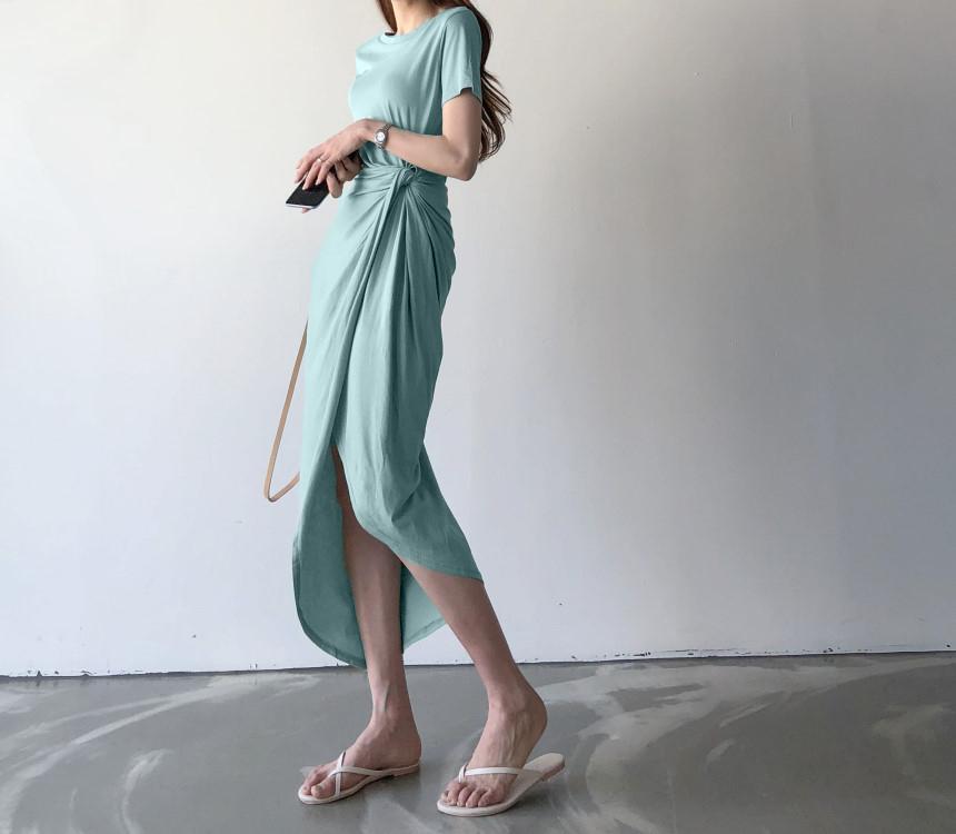 韓国 ファッション ワンピース 夏 春 カジュアル PTXI188  アシンメトリー ツイスト ドレープ スリット オルチャン シンプル 定番 セレカジの写真6枚目