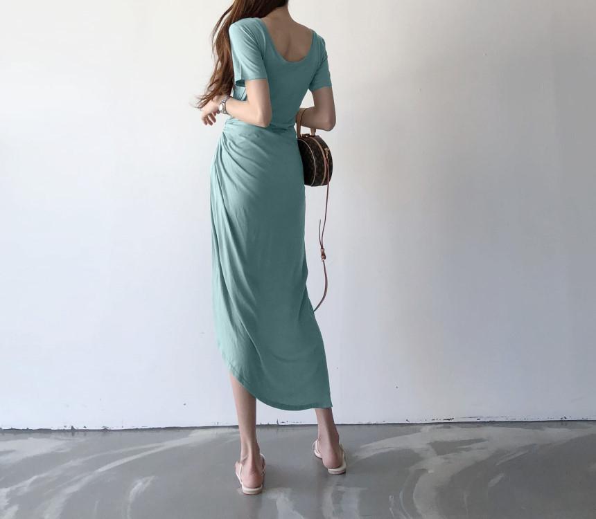 韓国 ファッション ワンピース 夏 春 カジュアル PTXI188  アシンメトリー ツイスト ドレープ スリット オルチャン シンプル 定番 セレカジの写真7枚目