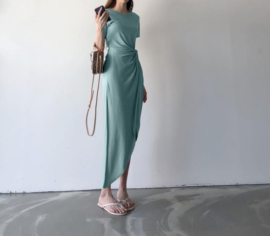 韓国 ファッション ワンピース 夏 春 カジュアル PTXI188  アシンメトリー ツイスト ドレープ スリット オルチャン シンプル 定番 セレカジの写真8枚目