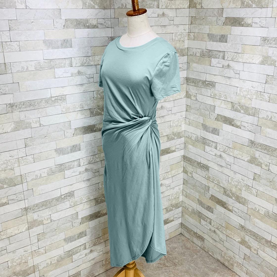 韓国 ファッション ワンピース 夏 春 カジュアル PTXI188  アシンメトリー ツイスト ドレープ スリット オルチャン シンプル 定番 セレカジの写真10枚目