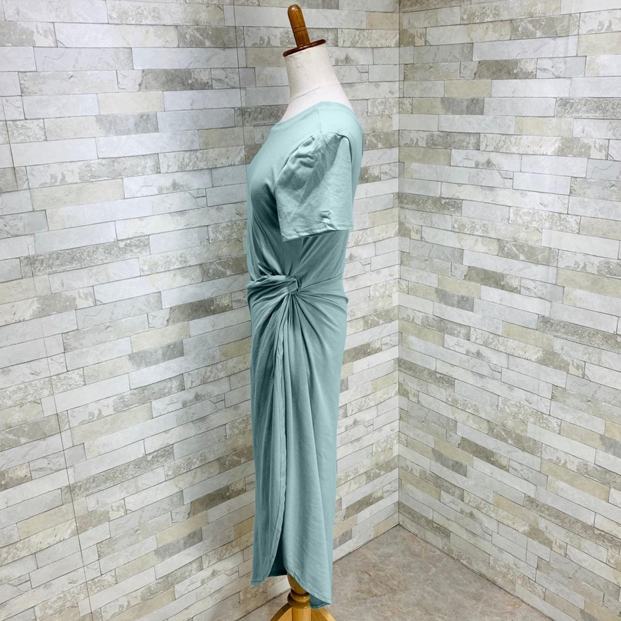 韓国 ファッション ワンピース 夏 春 カジュアル PTXI188  アシンメトリー ツイスト ドレープ スリット オルチャン シンプル 定番 セレカジの写真11枚目