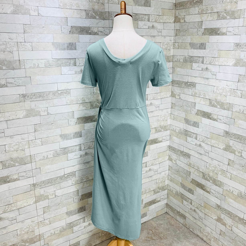 韓国 ファッション ワンピース 夏 春 カジュアル PTXI188  アシンメトリー ツイスト ドレープ スリット オルチャン シンプル 定番 セレカジの写真12枚目