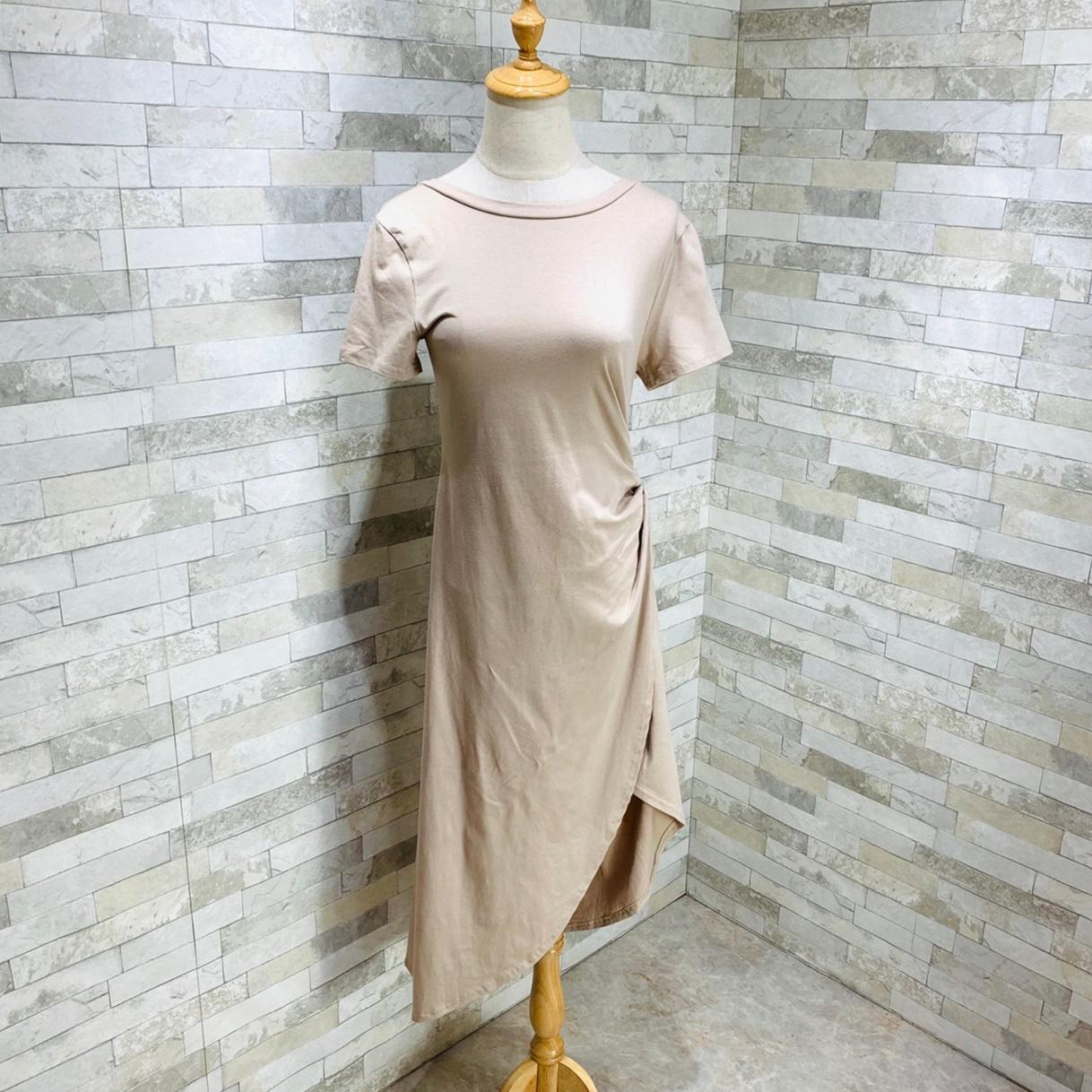 韓国 ファッション ワンピース 夏 春 カジュアル PTXI188  アシンメトリー ツイスト ドレープ スリット オルチャン シンプル 定番 セレカジの写真13枚目