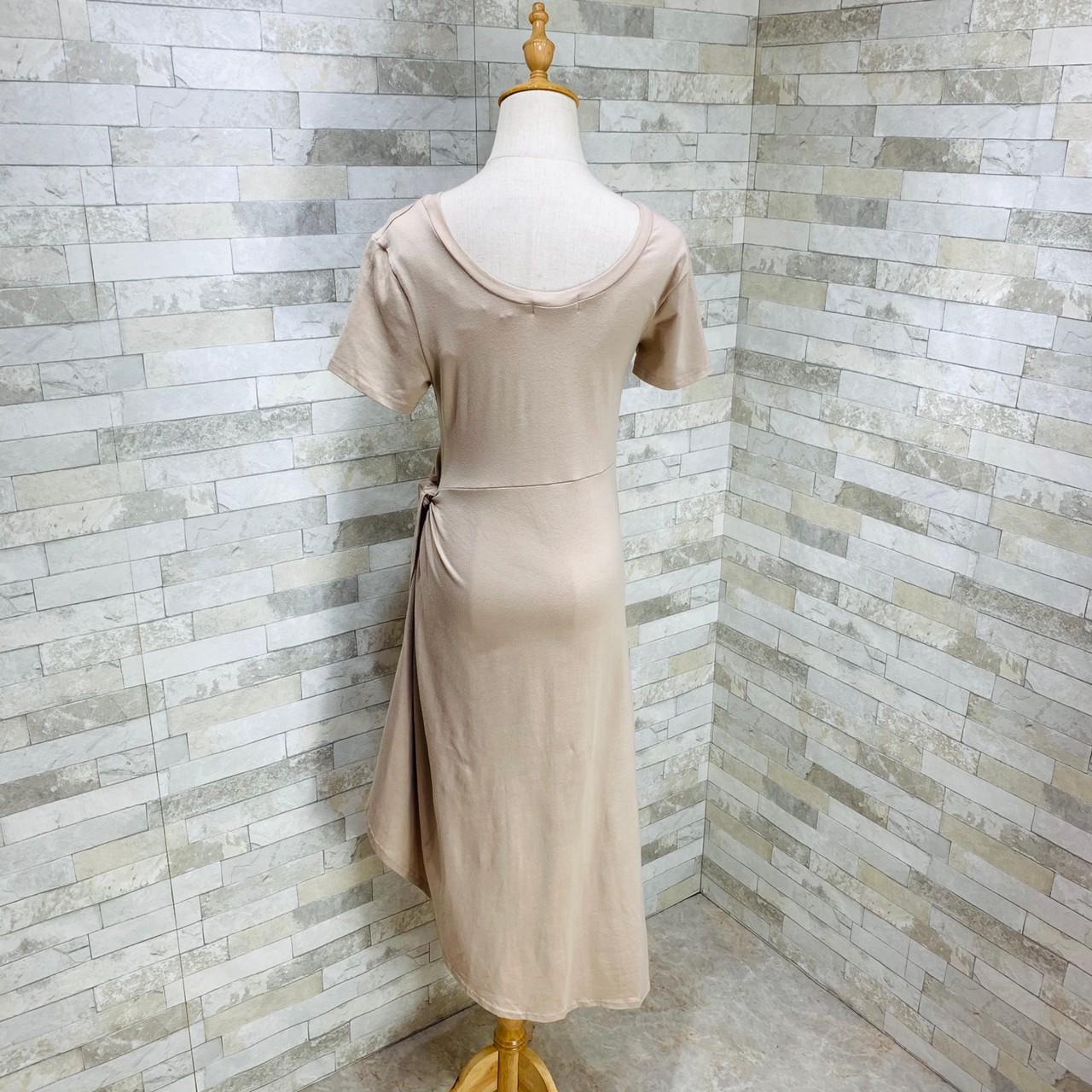 韓国 ファッション ワンピース 夏 春 カジュアル PTXI188  アシンメトリー ツイスト ドレープ スリット オルチャン シンプル 定番 セレカジの写真14枚目