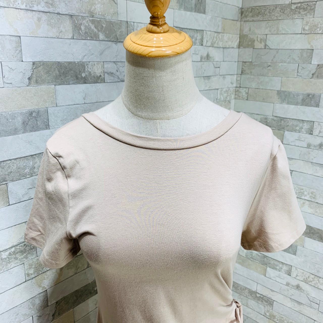 韓国 ファッション ワンピース 夏 春 カジュアル PTXI188  アシンメトリー ツイスト ドレープ スリット オルチャン シンプル 定番 セレカジの写真17枚目
