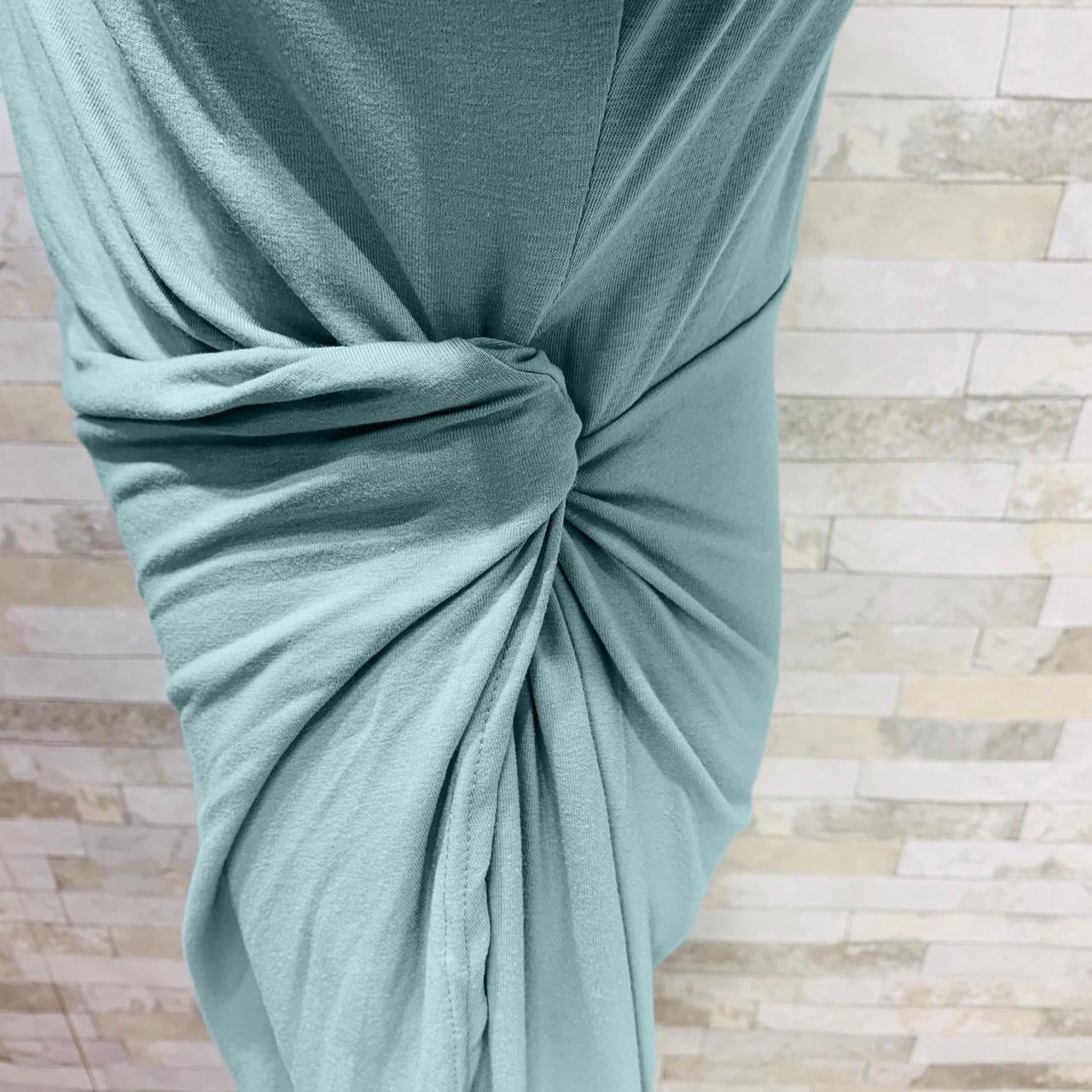 韓国 ファッション ワンピース 夏 春 カジュアル PTXI188  アシンメトリー ツイスト ドレープ スリット オルチャン シンプル 定番 セレカジの写真19枚目