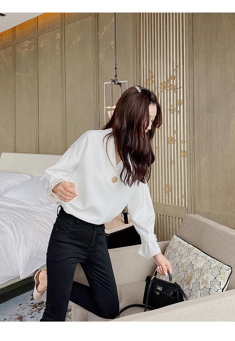韓国 ファッション トップス ブラウス シャツ 春 夏 秋 カジュアル PTXI195  ラフ 大き目ボタン オーバーサイズ Vネック オルチャン シンプル 定番 セレカジの写真13枚目