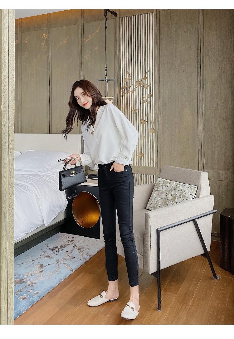 韓国 ファッション トップス ブラウス シャツ 春 夏 秋 カジュアル PTXI195  ラフ 大き目ボタン オーバーサイズ Vネック オルチャン シンプル 定番 セレカジの写真14枚目
