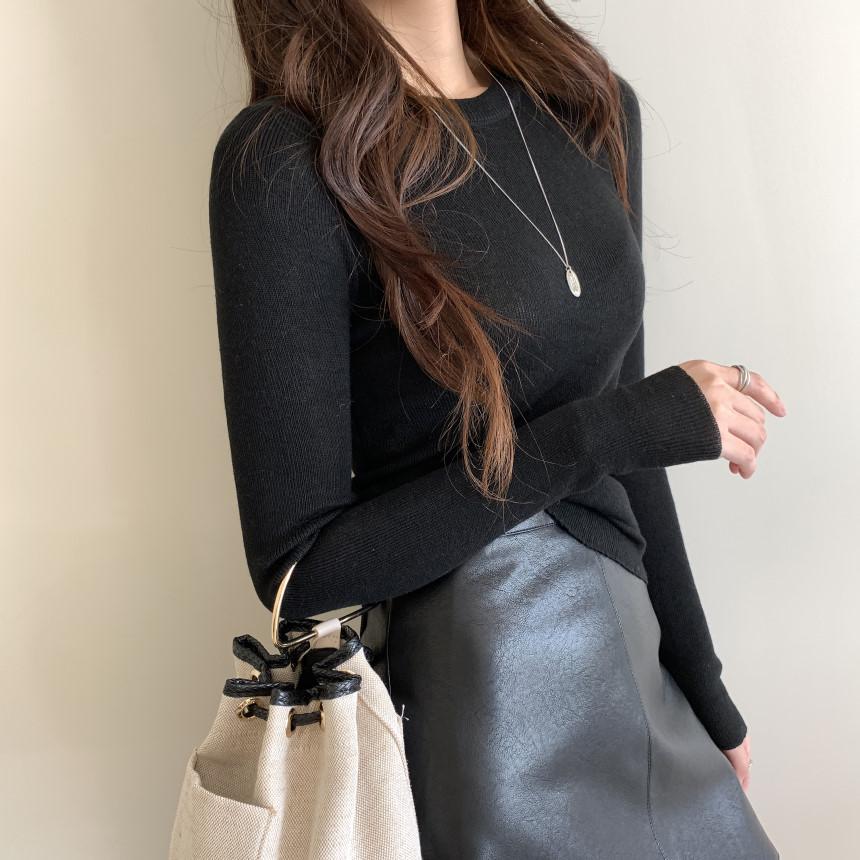 韓国 ファッション トップス ニット セーター 春 夏 秋 カジュアル PTXI258  シアー 薄手 リブニット ジャケットインナー オルチャン シンプル 定番 セレカジの写真4枚目