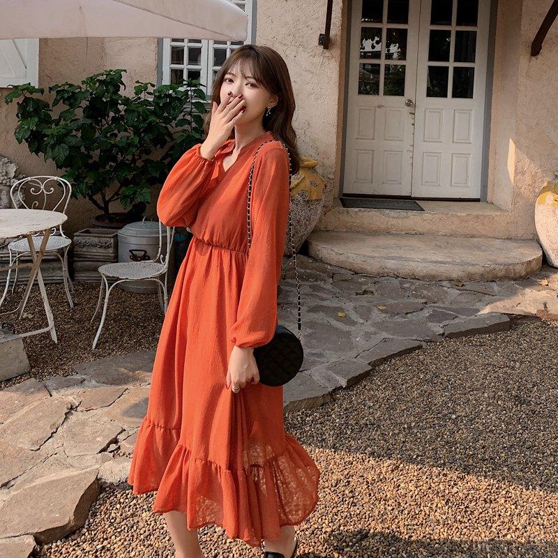 韓国 ファッション ワンピース 夏 春 秋 カジュアル PTXI263  シアー シフォン バンドカラー 切替え Aライン オルチャン シンプル 定番 セレカジの写真3枚目