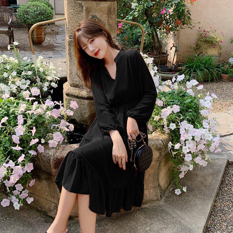 韓国 ファッション ワンピース 夏 春 秋 カジュアル PTXI263  シアー シフォン バンドカラー 切替え Aライン オルチャン シンプル 定番 セレカジの写真4枚目
