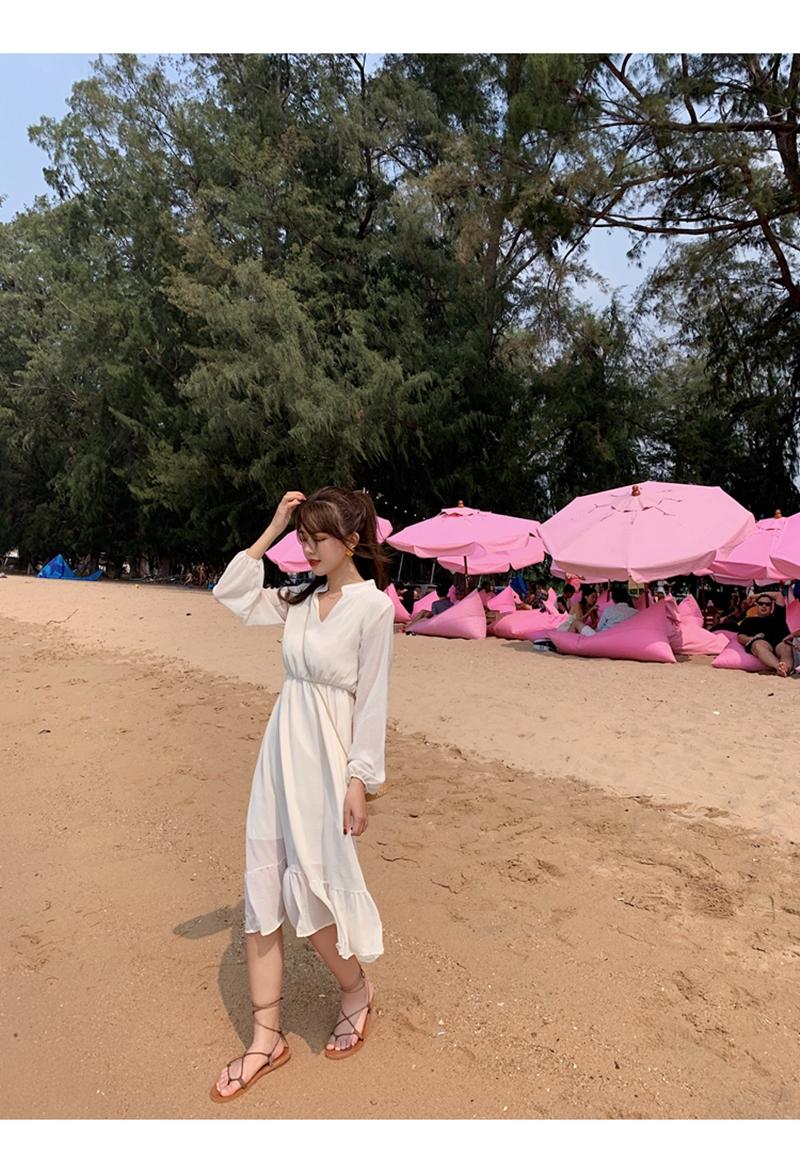 韓国 ファッション ワンピース 夏 春 秋 カジュアル PTXI263  シアー シフォン バンドカラー 切替え Aライン オルチャン シンプル 定番 セレカジの写真17枚目