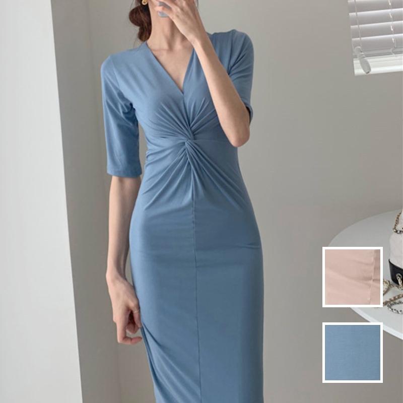 韓国 ファッション ワンピース 夏 春 カジュアル PTXI268  カシュクール センシュアル ツイスト Vネック オルチャン シンプル 定番 セレカジの写真1枚目
