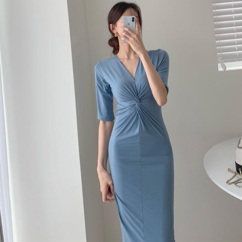 韓国 ファッション ワンピース 夏 春 カジュアル PTXI268  カシュクール センシュアル ツイスト Vネック オルチャン シンプル 定番 セレカジの写真2枚目
