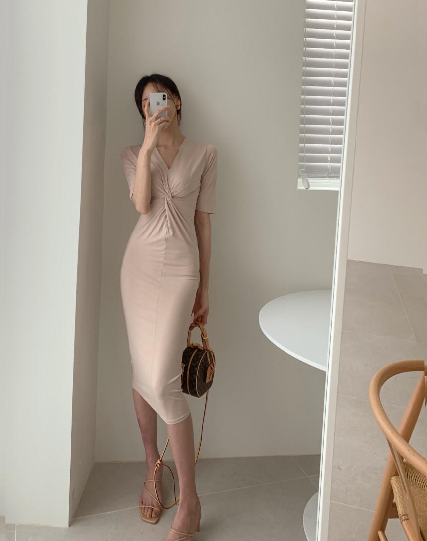 韓国 ファッション ワンピース 夏 春 カジュアル PTXI268  カシュクール センシュアル ツイスト Vネック オルチャン シンプル 定番 セレカジの写真6枚目