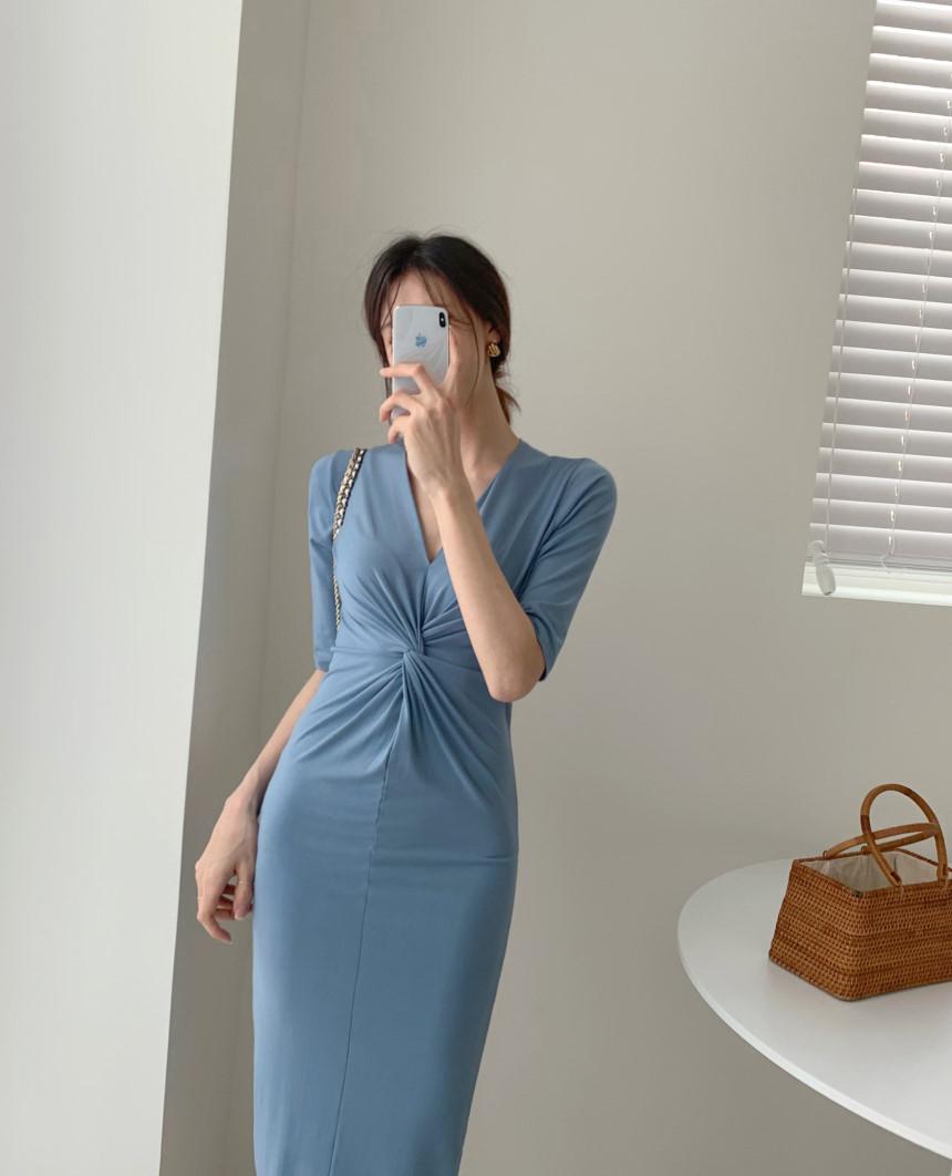韓国 ファッション ワンピース 夏 春 カジュアル PTXI268  カシュクール センシュアル ツイスト Vネック オルチャン シンプル 定番 セレカジの写真9枚目