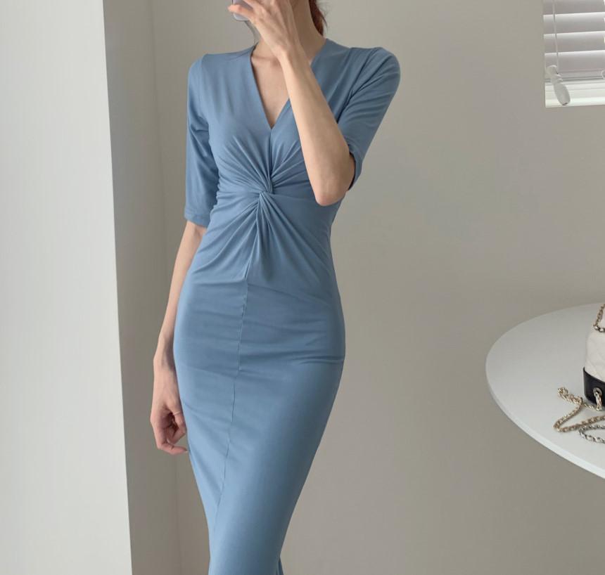 韓国 ファッション ワンピース 夏 春 カジュアル PTXI268  カシュクール センシュアル ツイスト Vネック オルチャン シンプル 定番 セレカジの写真11枚目