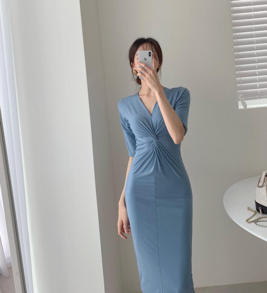 韓国 ファッション ワンピース 夏 春 カジュアル PTXI268  カシュクール センシュアル ツイスト Vネック オルチャン シンプル 定番 セレカジの写真15枚目