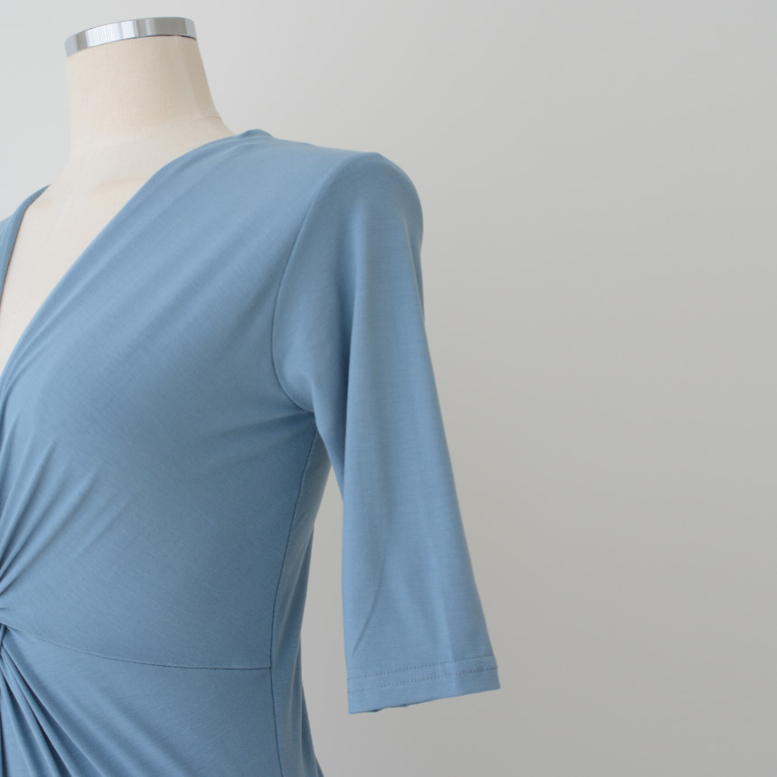 韓国 ファッション ワンピース 夏 春 カジュアル PTXI268  カシュクール センシュアル ツイスト Vネック オルチャン シンプル 定番 セレカジの写真18枚目