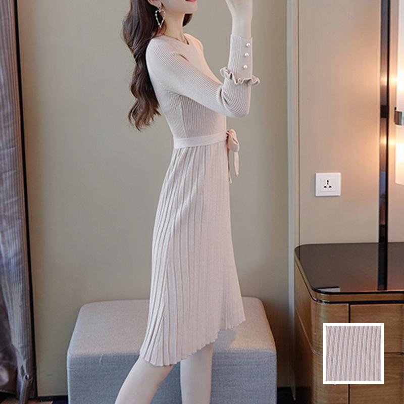韓国 ファッション ワンピース パーティードレス ひざ丈 ミディアム 秋 冬 春 パーティー ブライダル PTXI291 結婚式 お呼ばれ プリーツ風 リブニットワンピース  二次会 セレブ きれいめの写真1枚目