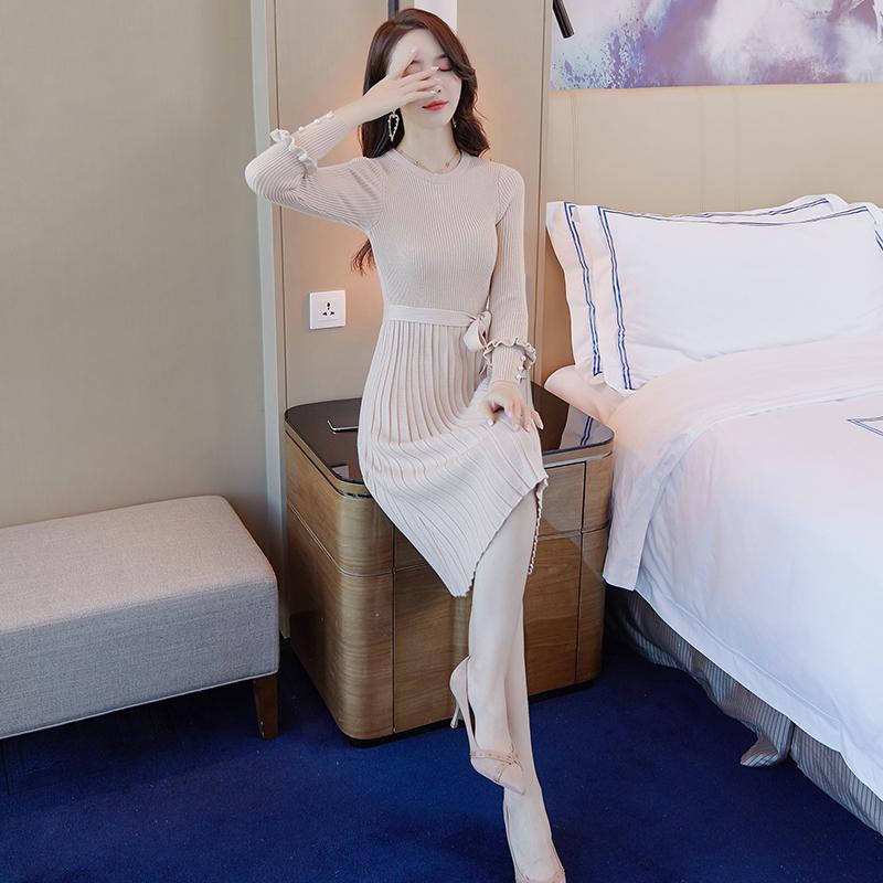 韓国 ファッション ワンピース パーティードレス ひざ丈 ミディアム 秋 冬 春 パーティー ブライダル PTXI291 結婚式 お呼ばれ プリーツ風 リブニットワンピース  二次会 セレブ きれいめの写真2枚目