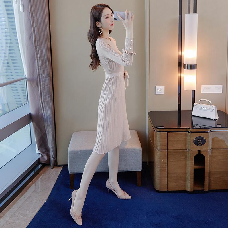 韓国 ファッション ワンピース パーティードレス ひざ丈 ミディアム 秋 冬 春 パーティー ブライダル PTXI291 結婚式 お呼ばれ プリーツ風 リブニットワンピース  二次会 セレブ きれいめの写真3枚目