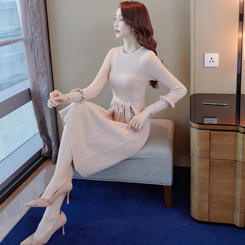 韓国 ファッション ワンピース パーティードレス ひざ丈 ミディアム 秋 冬 春 パーティー ブライダル PTXI291 結婚式 お呼ばれ プリーツ風 リブニットワンピース  二次会 セレブ きれいめの写真5枚目