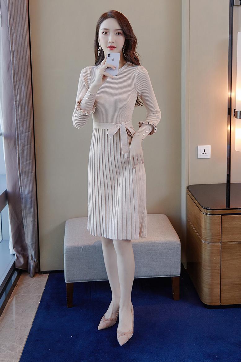 韓国 ファッション ワンピース パーティードレス ひざ丈 ミディアム 秋 冬 春 パーティー ブライダル PTXI291 結婚式 お呼ばれ プリーツ風 リブニットワンピース  二次会 セレブ きれいめの写真6枚目