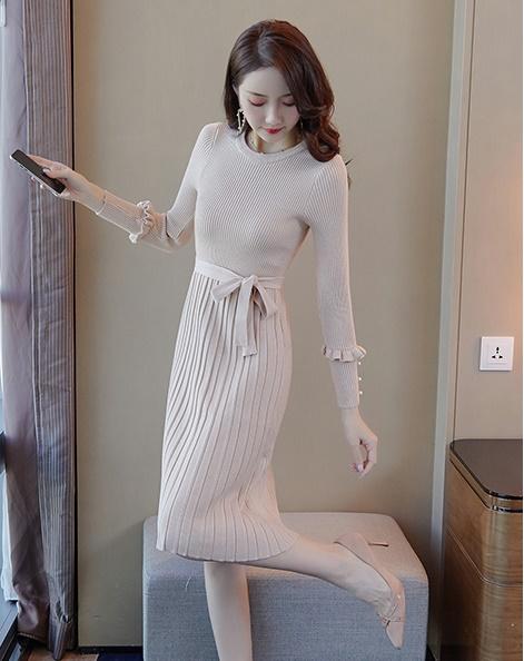 韓国 ファッション ワンピース パーティードレス ひざ丈 ミディアム 秋 冬 春 パーティー ブライダル PTXI291 結婚式 お呼ばれ プリーツ風 リブニットワンピース  二次会 セレブ きれいめの写真8枚目