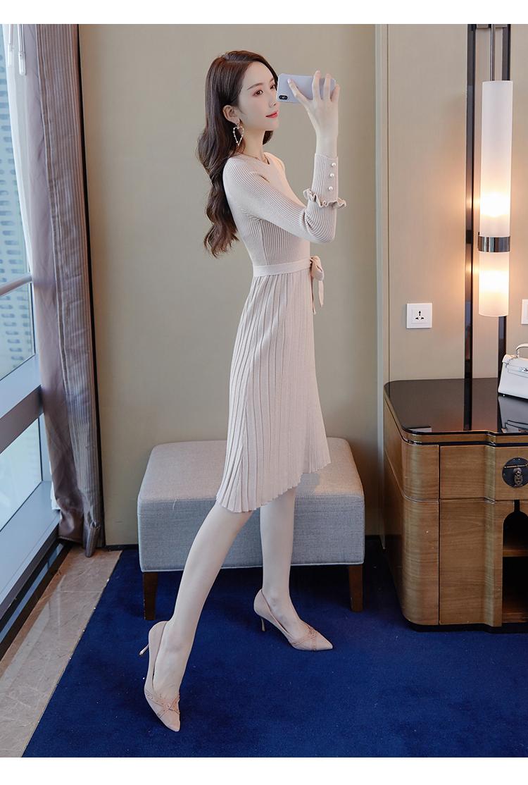 韓国 ファッション ワンピース パーティードレス ひざ丈 ミディアム 秋 冬 春 パーティー ブライダル PTXI291 結婚式 お呼ばれ プリーツ風 リブニットワンピース  二次会 セレブ きれいめの写真9枚目