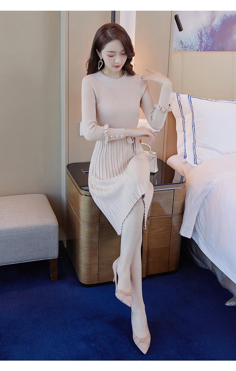 韓国 ファッション ワンピース パーティードレス ひざ丈 ミディアム 秋 冬 春 パーティー ブライダル PTXI291 結婚式 お呼ばれ プリーツ風 リブニットワンピース  二次会 セレブ きれいめの写真11枚目