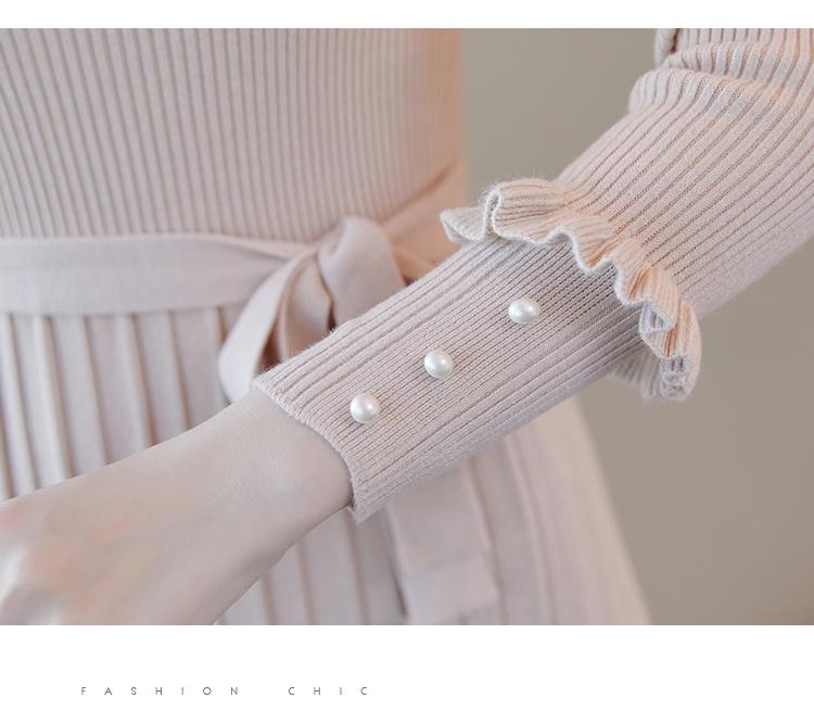 韓国 ファッション ワンピース パーティードレス ひざ丈 ミディアム 秋 冬 春 パーティー ブライダル PTXI291 結婚式 お呼ばれ プリーツ風 リブニットワンピース  二次会 セレブ きれいめの写真14枚目