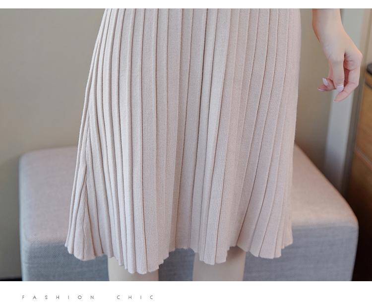 韓国 ファッション ワンピース パーティードレス ひざ丈 ミディアム 秋 冬 春 パーティー ブライダル PTXI291 結婚式 お呼ばれ プリーツ風 リブニットワンピース  二次会 セレブ きれいめの写真15枚目