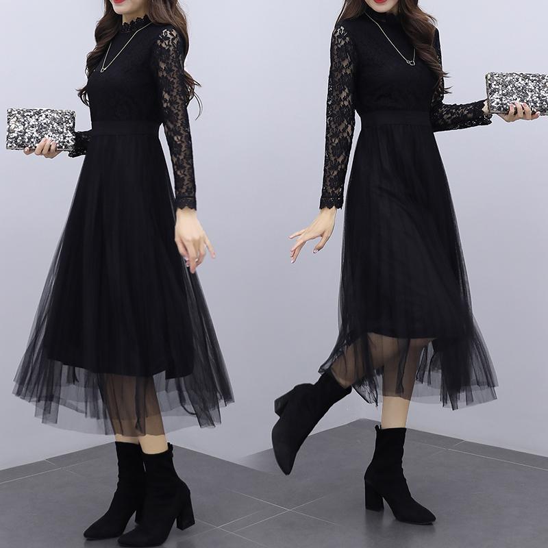 韓国 ファッション ワンピース パーティードレス ロング マキシ 夏 春 秋 パーティー ブライダル PTXI294 結婚式 お呼ばれ シースルー スタンドカラー チュール  二次会 セレブ きれいめの写真2枚目