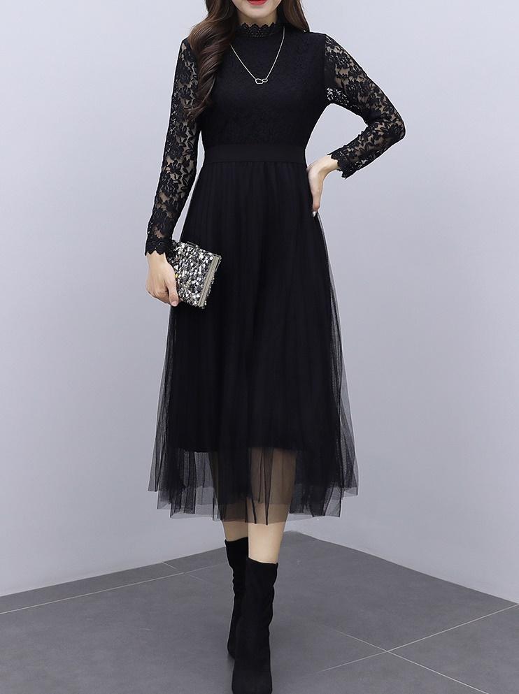 韓国 ファッション ワンピース パーティードレス ロング マキシ 夏 春 秋 パーティー ブライダル PTXI294 結婚式 お呼ばれ シースルー スタンドカラー チュール  二次会 セレブ きれいめの写真8枚目