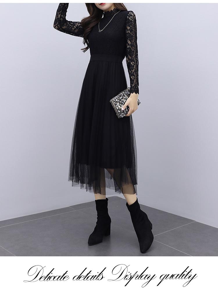 韓国 ファッション ワンピース パーティードレス ロング マキシ 夏 春 秋 パーティー ブライダル PTXI294 結婚式 お呼ばれ シースルー スタンドカラー チュール  二次会 セレブ きれいめの写真10枚目