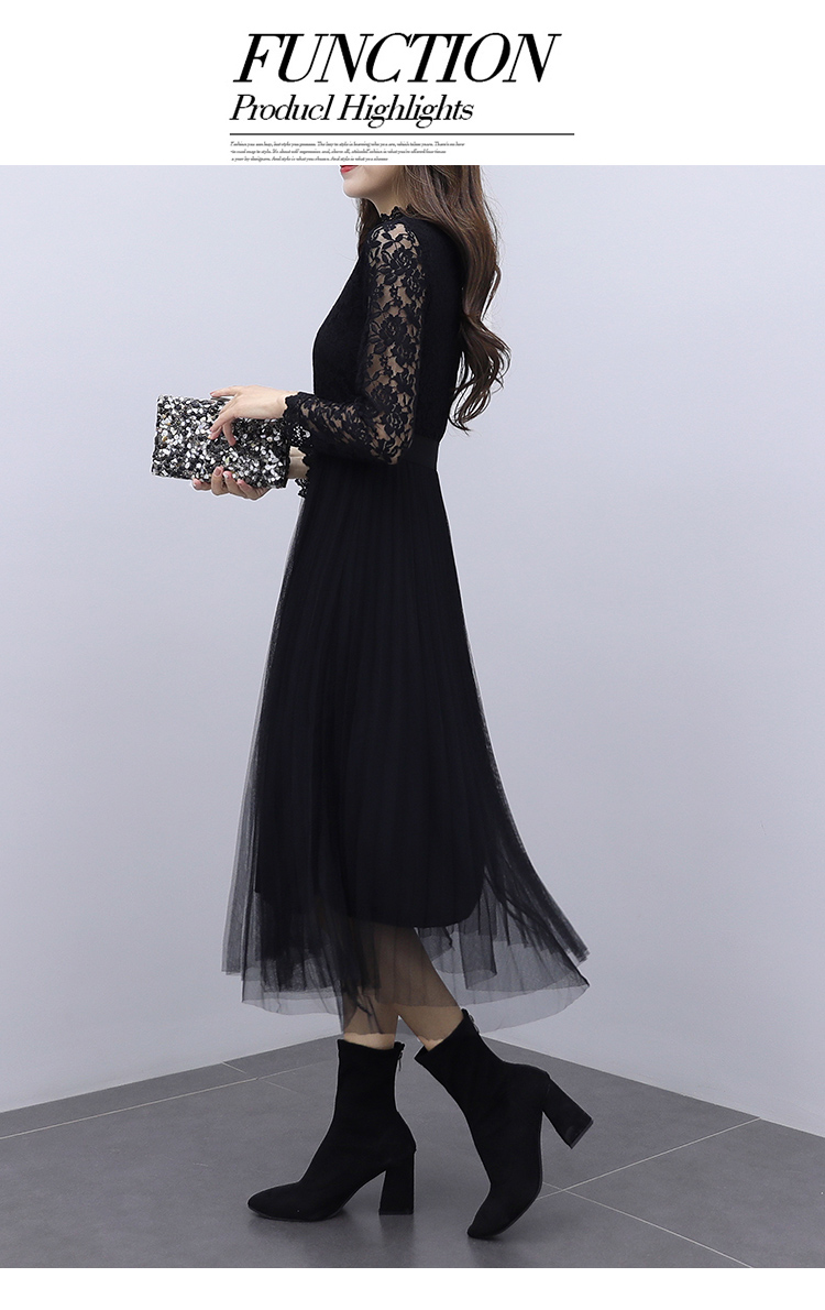韓国 ファッション ワンピース パーティードレス ロング マキシ 夏 春 秋 パーティー ブライダル PTXI294 結婚式 お呼ばれ シースルー スタンドカラー チュール  二次会 セレブ きれいめの写真12枚目