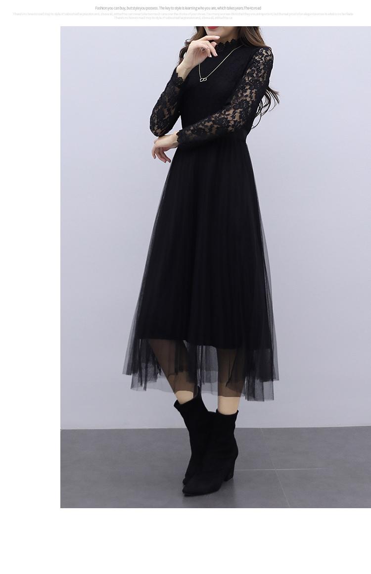 韓国 ファッション ワンピース パーティードレス ロング マキシ 夏 春 秋 パーティー ブライダル PTXI294 結婚式 お呼ばれ シースルー スタンドカラー チュール  二次会 セレブ きれいめの写真15枚目