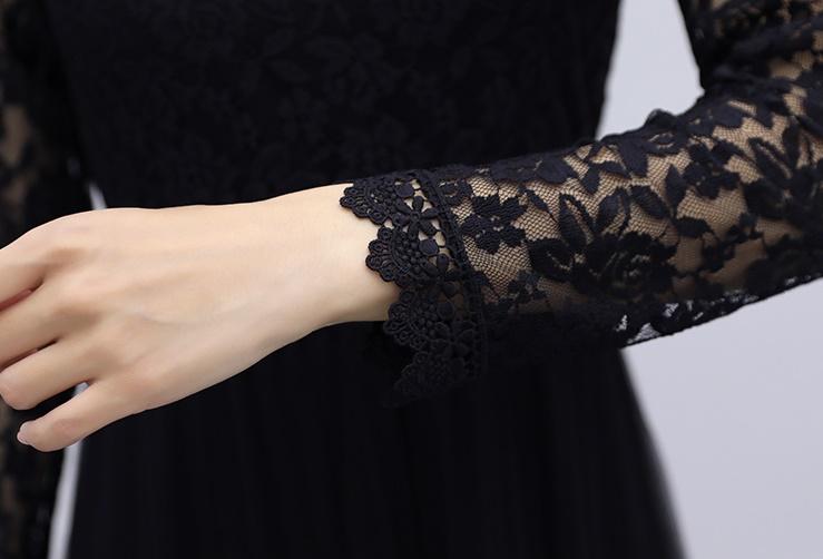 韓国 ファッション ワンピース パーティードレス ロング マキシ 夏 春 秋 パーティー ブライダル PTXI294 結婚式 お呼ばれ シースルー スタンドカラー チュール  二次会 セレブ きれいめの写真17枚目