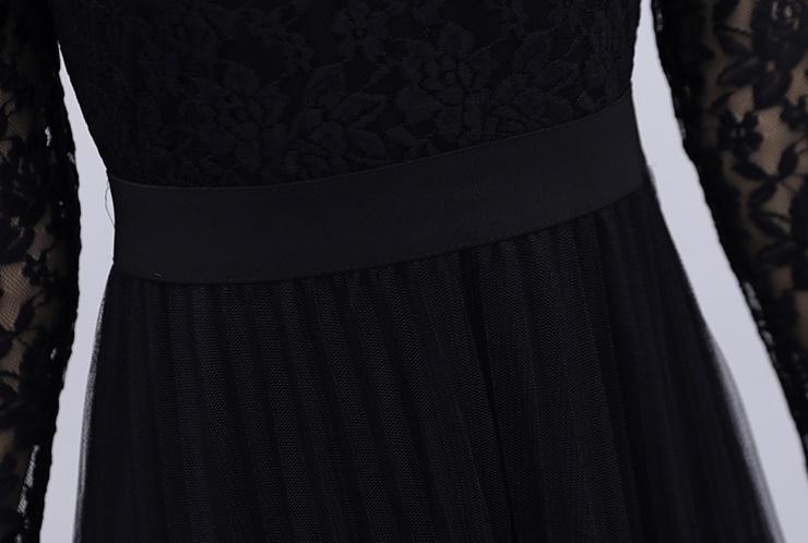 韓国 ファッション ワンピース パーティードレス ロング マキシ 夏 春 秋 パーティー ブライダル PTXI294 結婚式 お呼ばれ シースルー スタンドカラー チュール  二次会 セレブ きれいめの写真18枚目