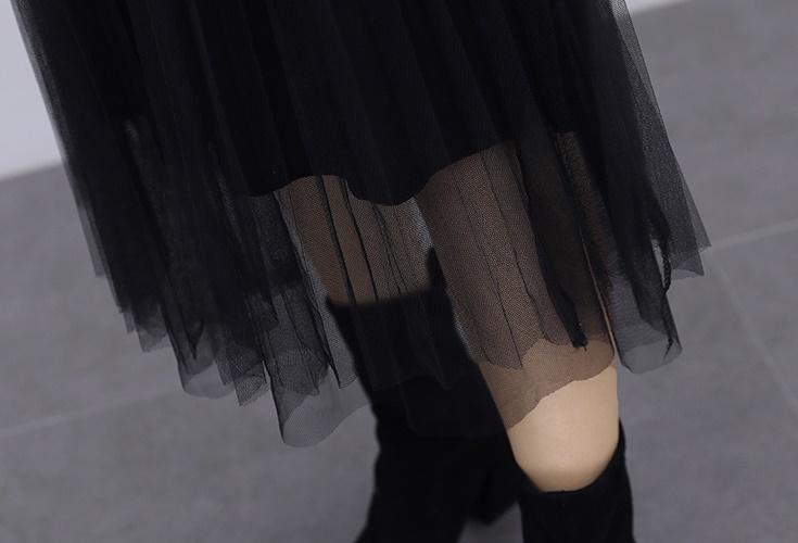 韓国 ファッション ワンピース パーティードレス ロング マキシ 夏 春 秋 パーティー ブライダル PTXI294 結婚式 お呼ばれ シースルー スタンドカラー チュール  二次会 セレブ きれいめの写真20枚目