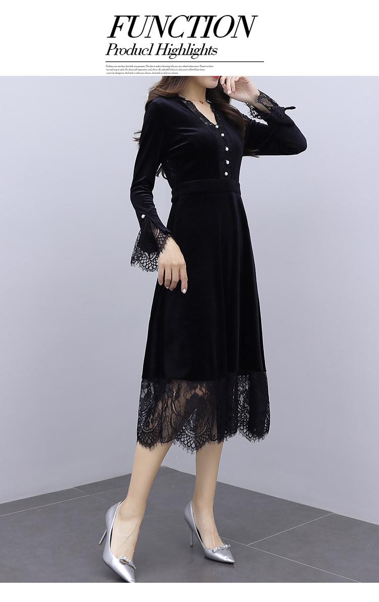 韓国 ファッション ワンピース パーティードレス ロング マキシ 秋 冬 春 パーティー ブライダル PTXI295 結婚式 お呼ばれ スカラップ フリンジレース フェミニン 二次会 セレブ きれいめの写真14枚目