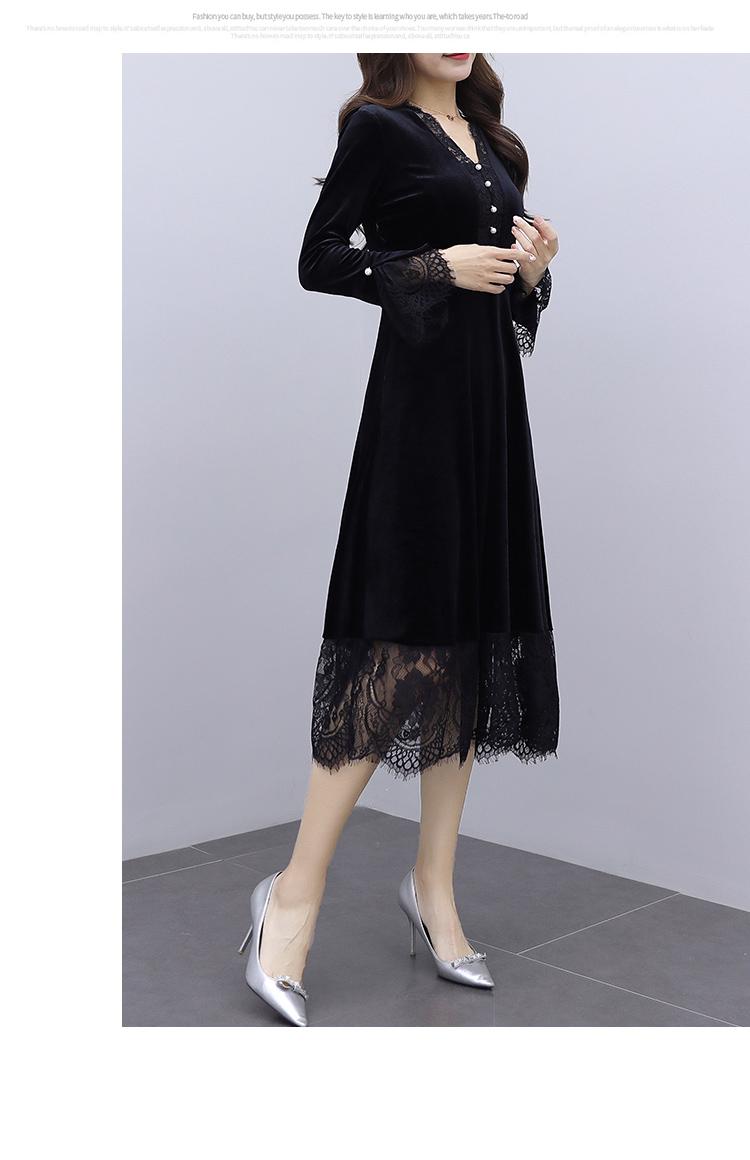 韓国 ファッション ワンピース パーティードレス ロング マキシ 秋 冬 春 パーティー ブライダル PTXI295 結婚式 お呼ばれ スカラップ フリンジレース フェミニン 二次会 セレブ きれいめの写真15枚目