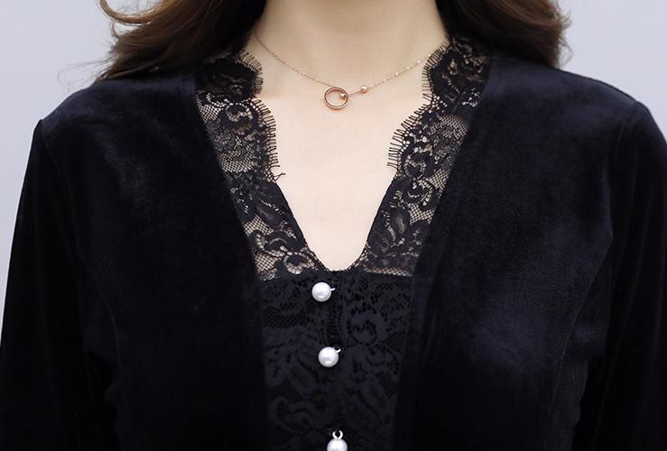 韓国 ファッション ワンピース パーティードレス ロング マキシ 秋 冬 春 パーティー ブライダル PTXI295 結婚式 お呼ばれ スカラップ フリンジレース フェミニン 二次会 セレブ きれいめの写真16枚目