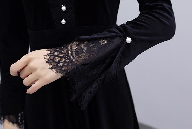 韓国 ファッション ワンピース パーティードレス ロング マキシ 秋 冬 春 パーティー ブライダル PTXI295 結婚式 お呼ばれ スカラップ フリンジレース フェミニン 二次会 セレブ きれいめの写真17枚目