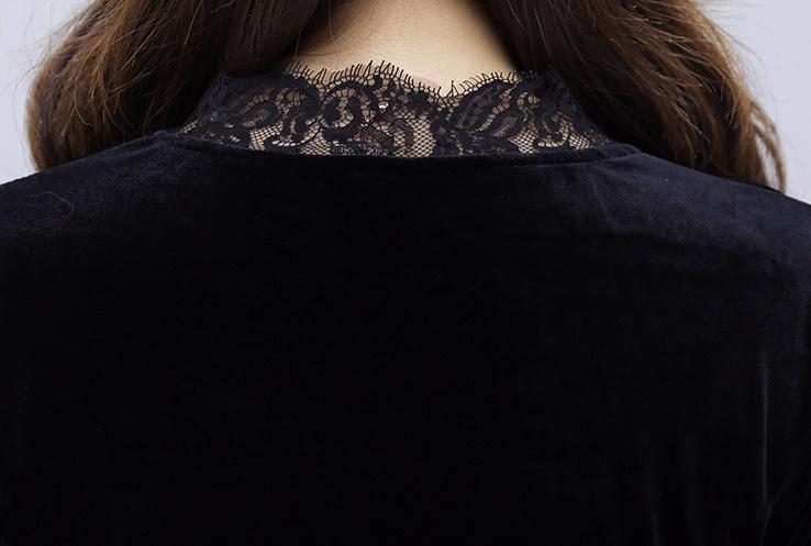 韓国 ファッション ワンピース パーティードレス ロング マキシ 秋 冬 春 パーティー ブライダル PTXI295 結婚式 お呼ばれ スカラップ フリンジレース フェミニン 二次会 セレブ きれいめの写真19枚目